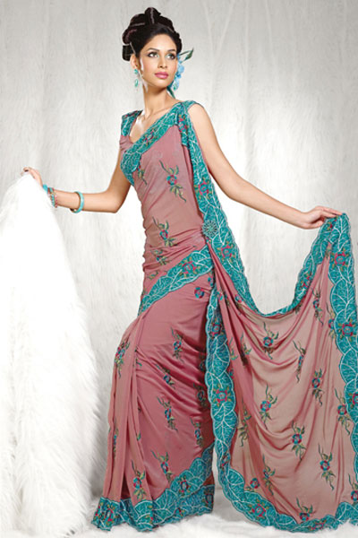 2010 Designer Saree in Salmon Color