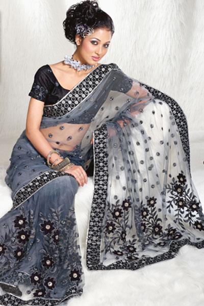 Latest Black Net Saree Design 2010