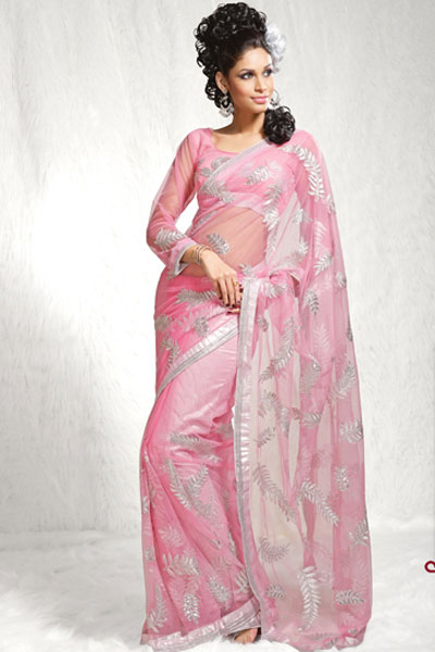 Latest Lavender Pink Net Designer Saree