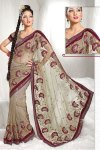 Latest Designer Saree in Khaki Brown Color