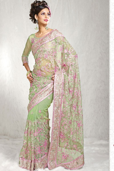 Latest Moss Green Net Party Saree
