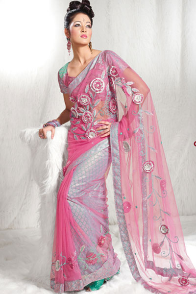 Latest Designer Hot Pink Net Saree 2010