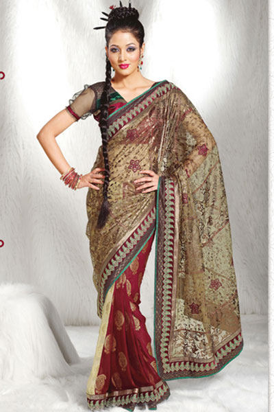 Latest Crepe Saree Design 2010