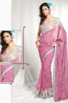 Newly Arrived Designer Saree in Hot Pink Color