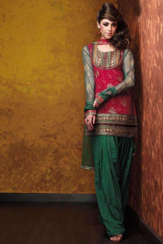Marron and Green Shalwar kameez