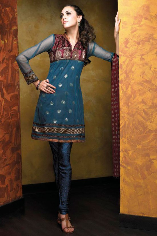 Steel Blue with Net Sleeves Heavy Churidar Kameez