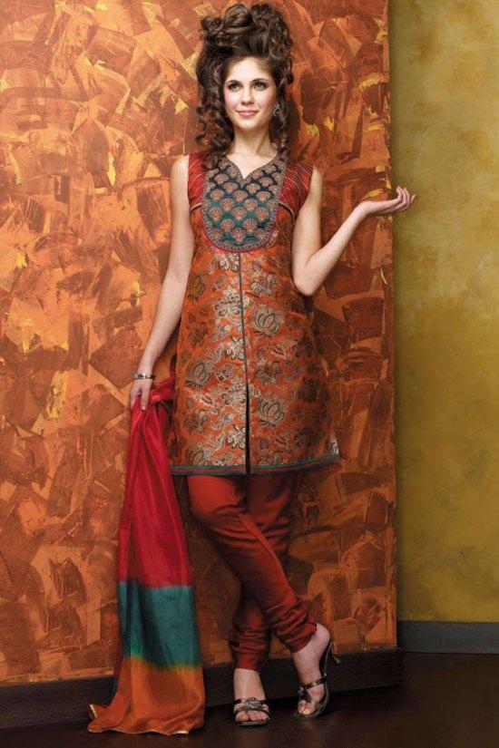 Rust Brown Latest Salwar Kameez Designs