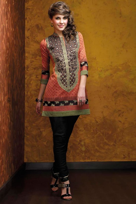Churidar Kameez - Deep Peach Kameez and Black Churidar
