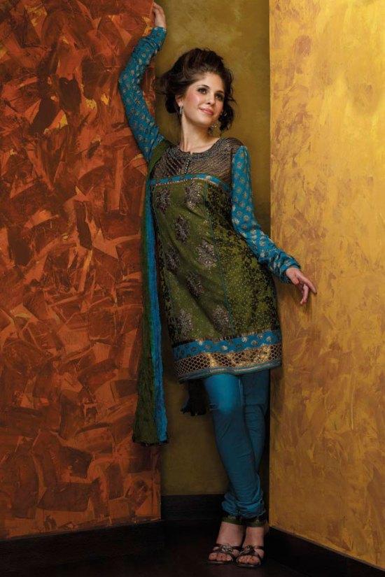 New Olive Green Embroidered Salwar Kameez