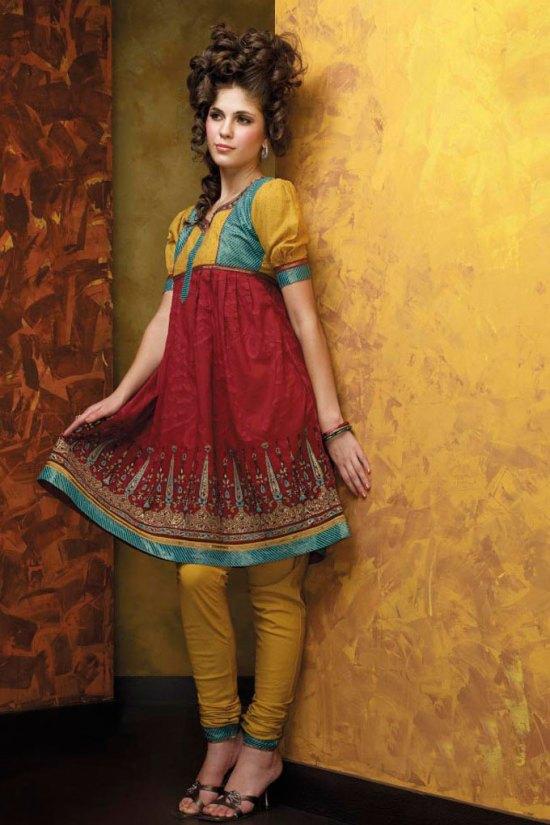 New Anarkali Style Red Salwar Kameez