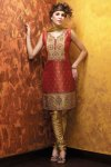 New Salmon Orange Salwar Kameez with Churidar Bottom