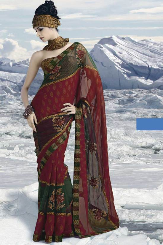 Latest Maroon Saree