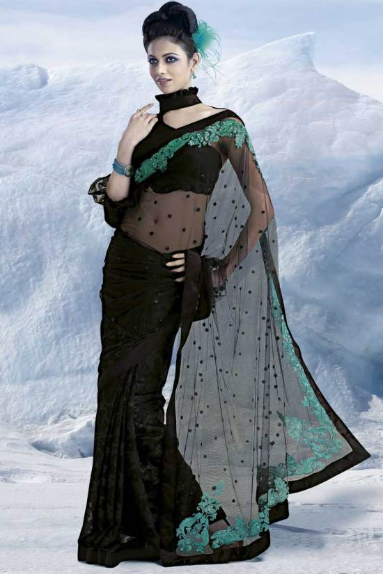 Latest Black Embroidery Saree