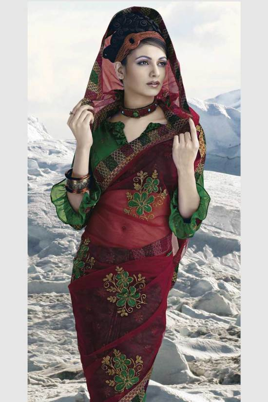 Latest Green and Cerise Red Fancy Saree