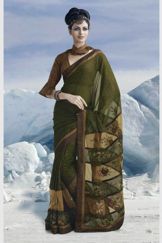 Latest Fern Green Designer Saree