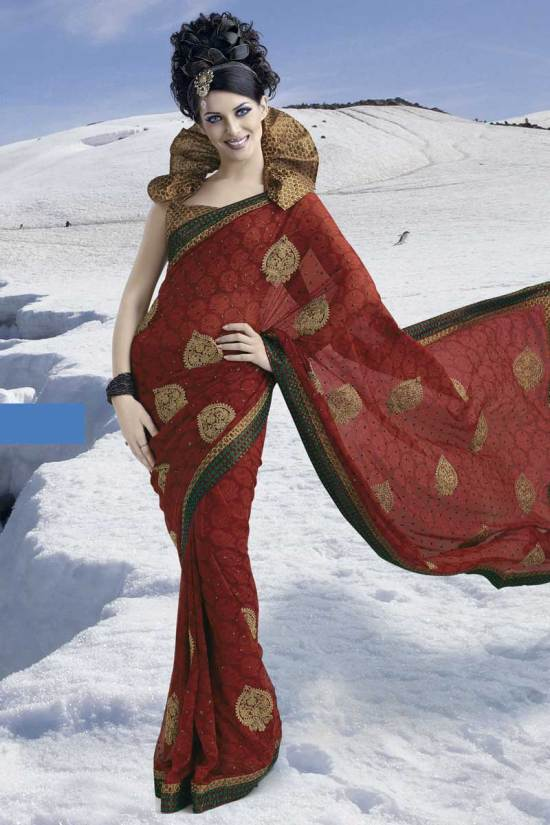 Latest Rust Brown Party Saree