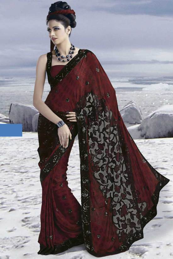 Latest Crepe Burgundy Party Wear Saree 2010