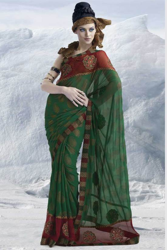 Latest Embroidered Saree 2010