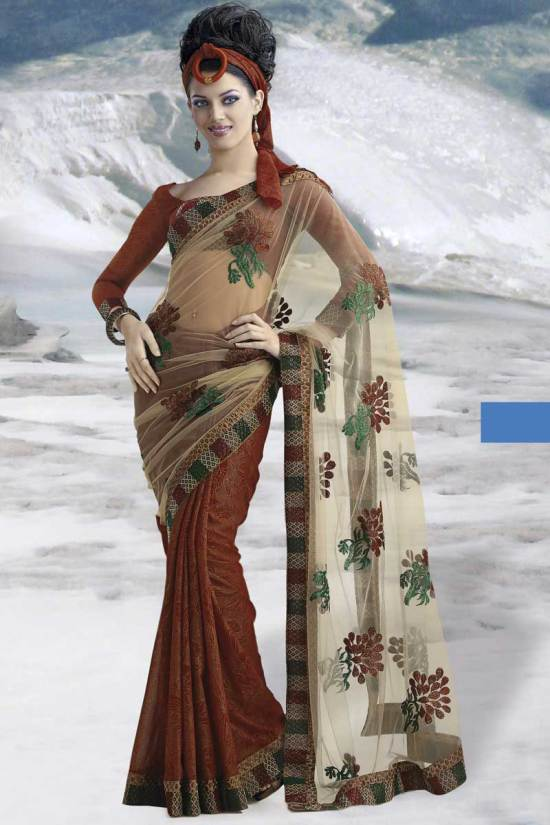 Rust Brown Floral Embroidered Saree 2010