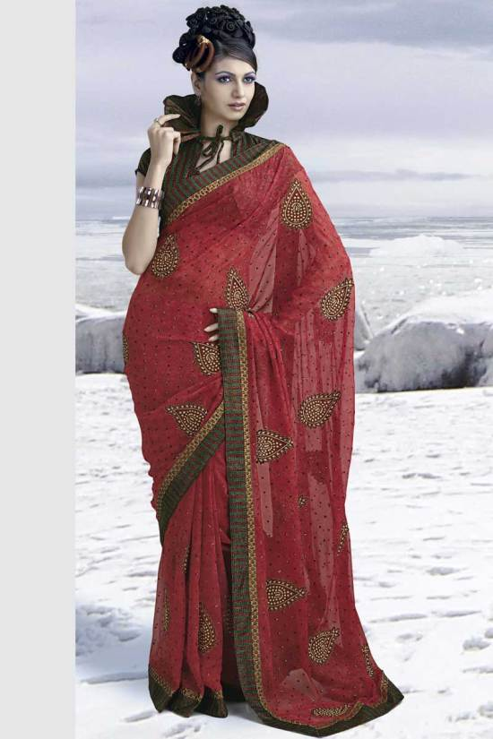 Party Wear Saree with Beautiful Blouse Piece