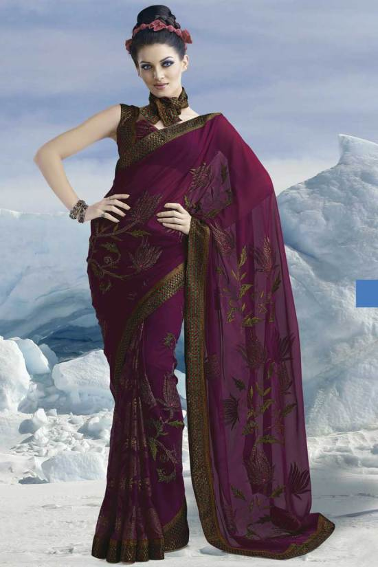 Purple Saree with Half Sleeve Blouse Style