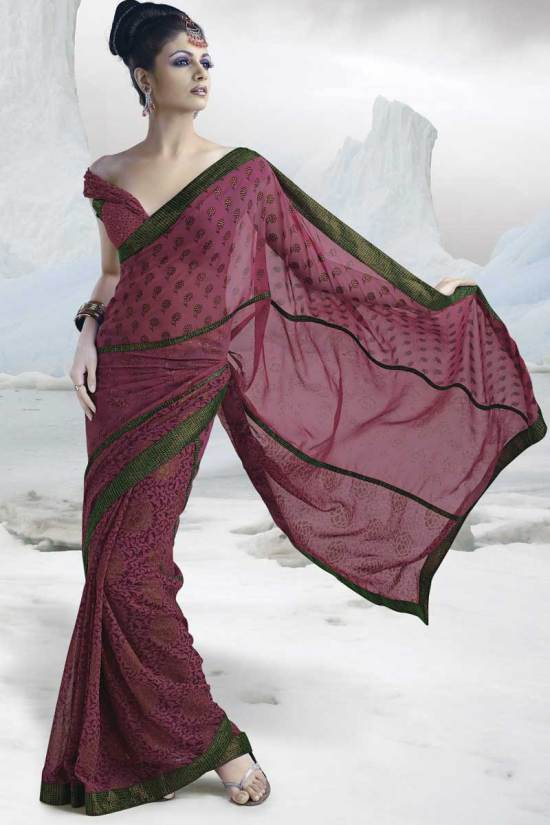Deep Pink Saree with Innovative Blouse Style