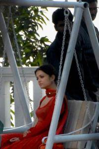 aishwarya in dark red salwar kameez in the movie ravana