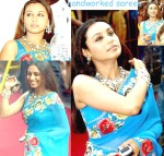 rani mukherjee in blue saree