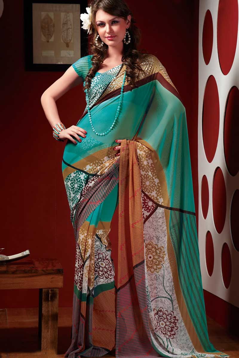 latest designer printed sarees � designer indian outfits
