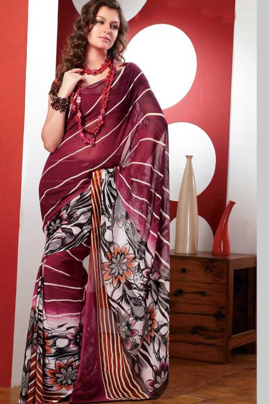 Faux Georgette Printed Sarees