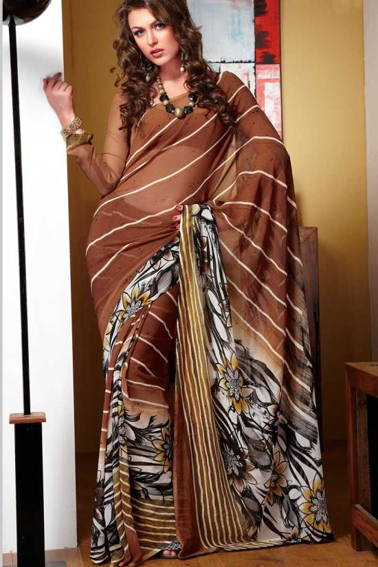 Printed Party Wear Faux Georgette Saree
