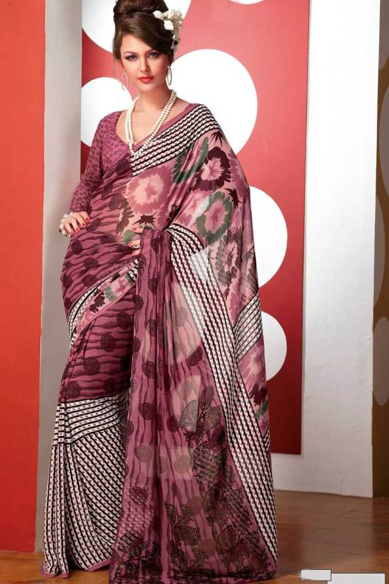 Latest Casual Printed Faux Georgette Saree 2010