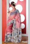 Newly Arrived Pink Faux Georgette Printed Saree