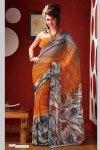 Stunning Yellow Printed Sari Collection 2010