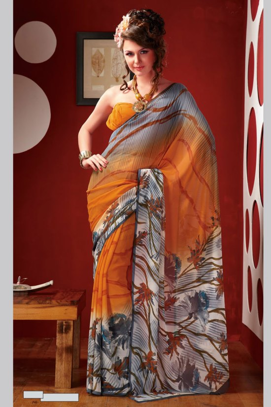 Stunning Yellow Printed Sari Collection 2010