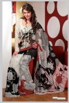 Latest Off white faux georgette printed sarees