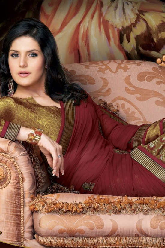 Latest Embroidered Sarees in Olive Green and Maroon Color