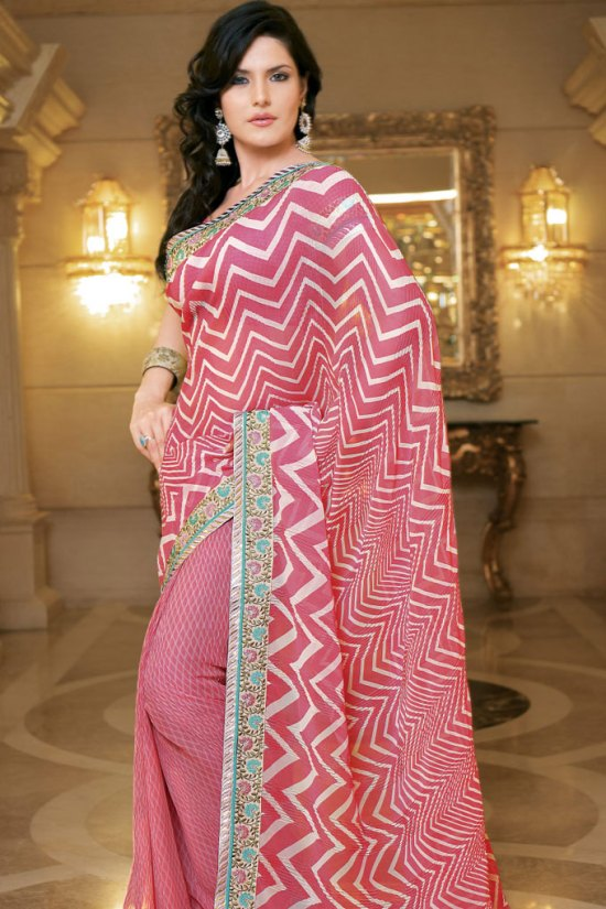 Embroidered Saree 2010 in Salmon Pink Color