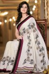 2010 Latest White Georgette Saree Collection