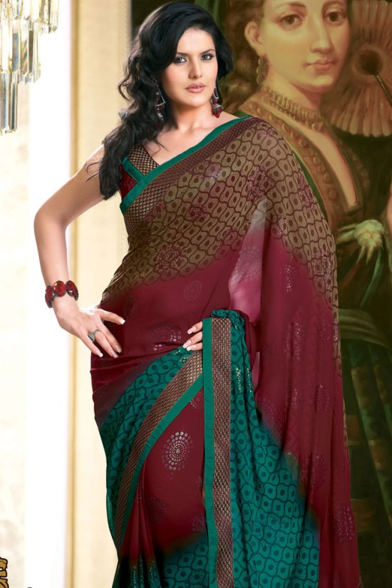 Embroidered Saree in Maroon and Pink Color 2010
