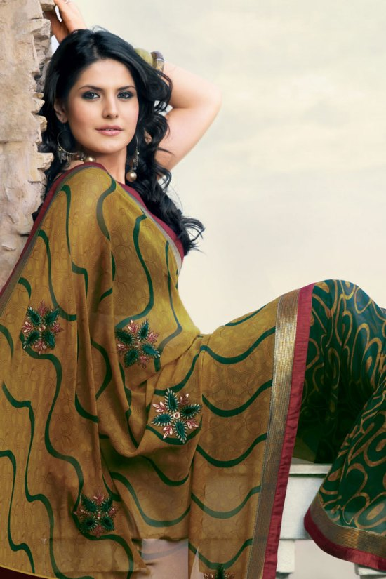 Latest Embroidered Georgette Party Saree 2010