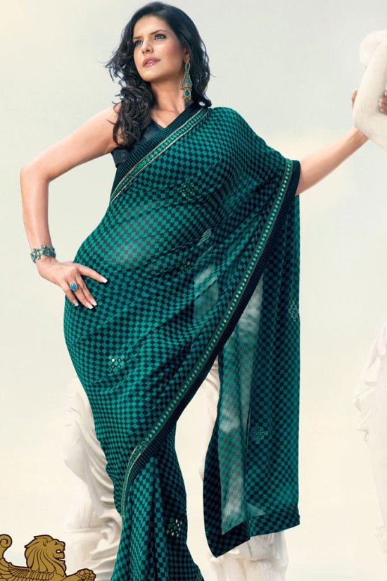 Pine Green Embroidered Saree 2010 collection
