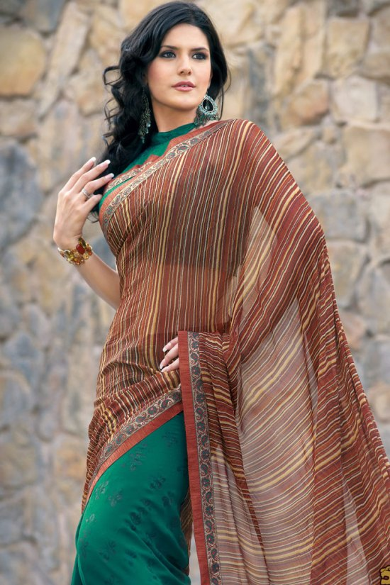 Brown Shimmer Georgette Embroidered Saree 2010