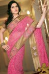 Deep Pink Embroidered Party Saree Collection 2010