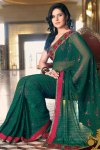 Newly Arrived Deep Green Party Saree with Red Border