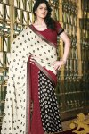 Latest Beige and Black Embroidered Party Saree 2010