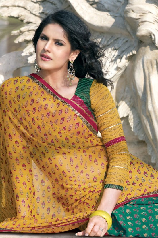 Mustard and Green Saree in Georgette Fabric
