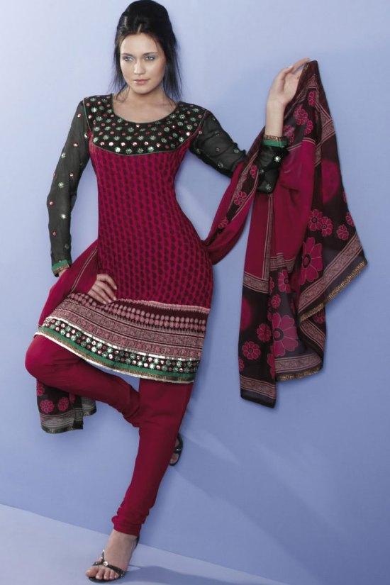 Red Wedding Wear Churidar Kameez