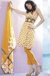 Yellow Printed Churidar Kameez 2010