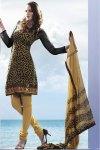 Black Kameez with Light Brown Churidar